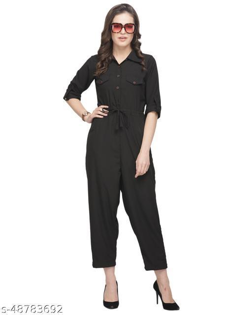 Sayesha Black Plain American Crepe Jumpsuit