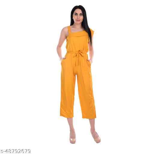Gospel One Piece Sleeveless Jumpsuit For Women, Very Casual And Sexy Solid Elasticated Waist Or Belted Jumpsuits   Yellow