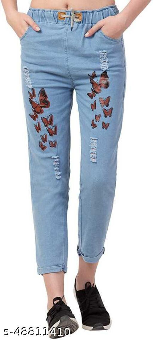 SAMAN FASHION WEAR  Boyfriend Women Light Blue Butterfly Print Jeans