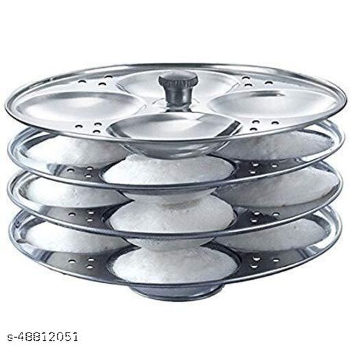 Offlic Stainless Steel Idli Maker/Idli Stand | Idli Plates | Idli Steamer| Idli Sancha (Stainless Steel, 4 Tier)