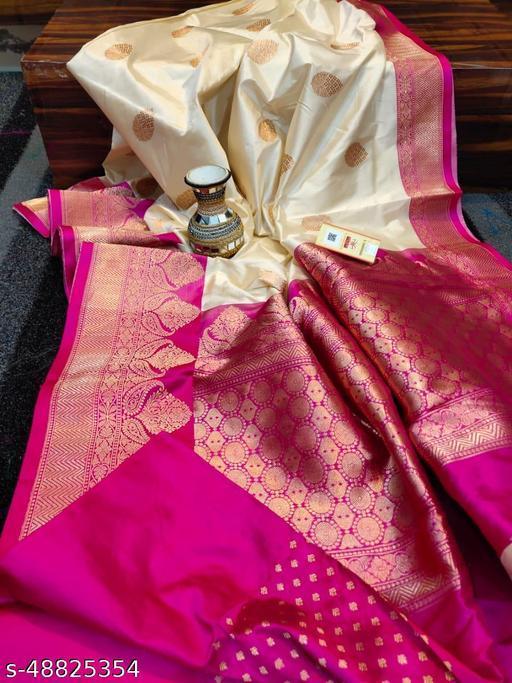 Soft Banarasi lichi silk fabric saree