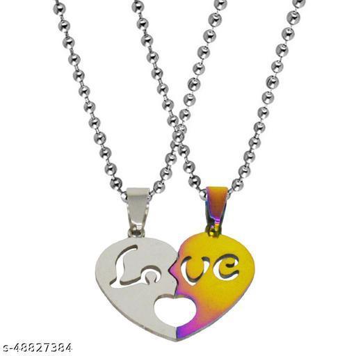 Valentine Day Gift Trendy Love Couple Heart Engraved Dual Locket Pendant Necklace Chain Unisex Jewellery Titanium Stainless Steel Pendant Set