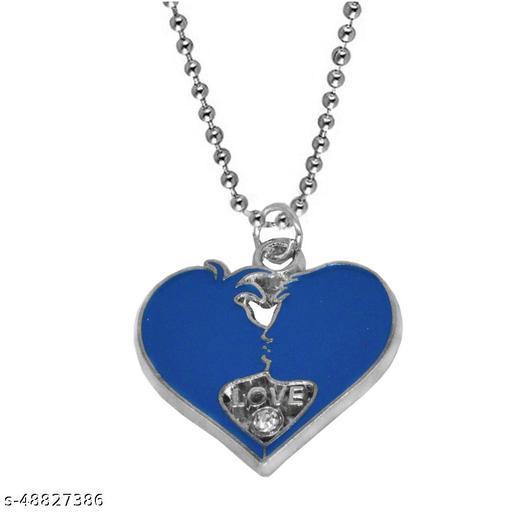 Valentine Day Gift Trendy Love Heart Engraved Locket Pendant Necklace Chain Unisex Jewellery Rhodium Zinc, Metal Pendant Set