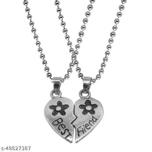 Friendship Day Gift Trendy Best Friend Couple Heart  Pendant Necklace Chain Jewellery Rhodium Zinc, Metal Pendant Set
