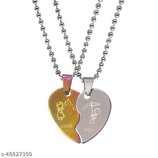 Valentine Gift Trendy Love You Borken Heart Couple Husband Wife Boyfriend Girlfriend Titanium Stainless Steel Pendant