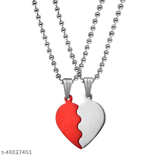 Valentine Gift Love You Heart Couple Engraved Dual Locket Pendant Necklace Chain Unisex Jewellery 1 Pair For His And Her