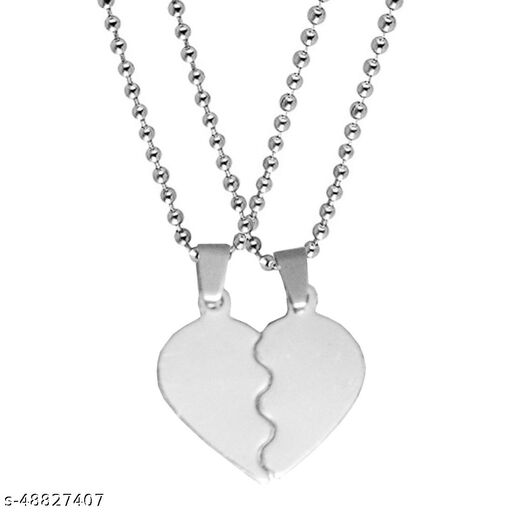Valentine Gift Trendy Love Borken Heart Couple Engraved Dual Locket Pendant Necklace Chain Unisex Jewellery 1 Pair For His And Her For Couple Husband Wife Boyfriend Girlfriend Boys Girls Silver Stainless Steel Pendant Set