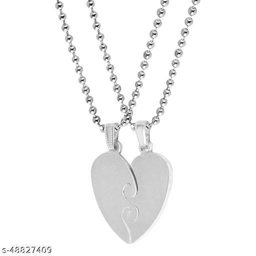 Valentine Gift Trendy Love Borken Heart Couple Dual Locket For Couple Husband Wife Titanium Stainless Steel Pendant Set