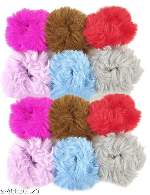 Stylewell (Pack Of 12 Pcs) Multicolor Solid Plush Rope Fluffy Warm Soft Faux Fur Bobbles Hoop Fuzzy Flexible Elastic Pom Pom Ponytail Holder Ball Hair Band/Head Band/Scrunchies Rubber Band