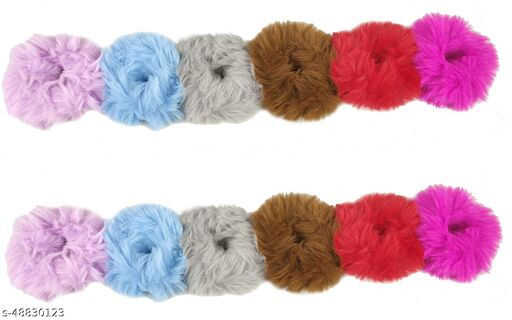 Stylewell (Set Of 12 Pcs) Multicolor Solid Plush Rope Fluffy Warm Soft Faux Fur Bobbles Hoop Fuzzy Flexible Elastic Pom Pom Ponytail Holder Ball Hair Band/Head Band/Scrunchies Rubber Band