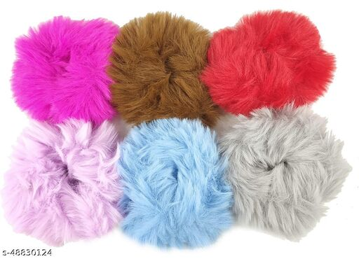 Stylewell (Set Of 6 Pcs) Multicolor Solid Plush Rope Fluffy Warm Soft Faux Fur Bobbles Hoop Fuzzy Flexible Elastic Pom Pom Ponytail Holder Ball Hair Band/Head Band/Scrunchies Rubber Band