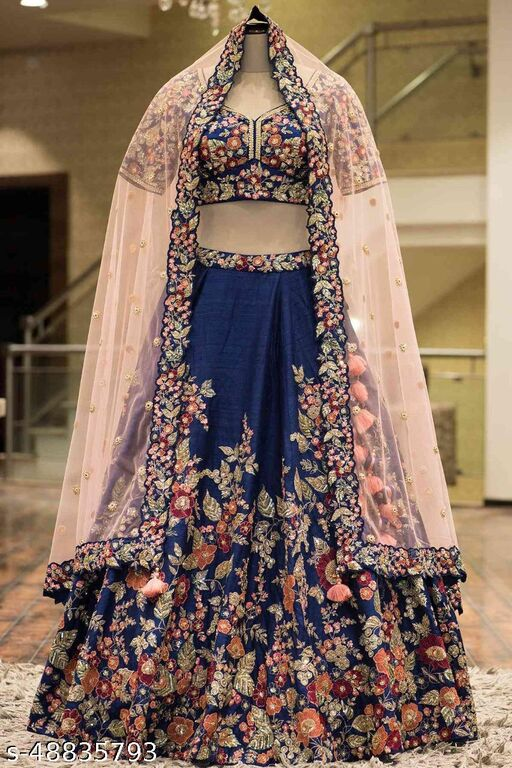 Blue Colored Designer Partywear Embroidered Work Silk Material Lehenga Choli - LC201