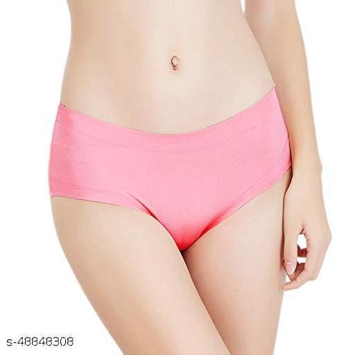 Women Seamless Pink Cotton Blend Panty
