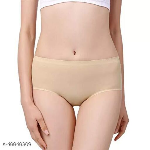 Women Seamless Cream Cotton Blend Panty