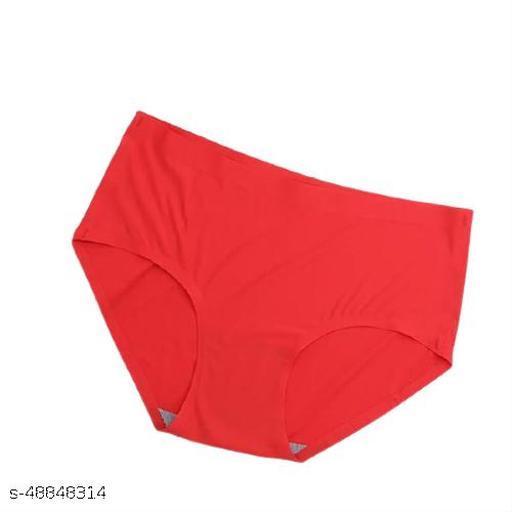 Women Seamless Red Cotton Blend Panty