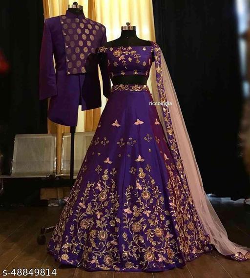 Purple Colored Partywear Designer Embroidered Malay Satin Silk Lehenga Choli