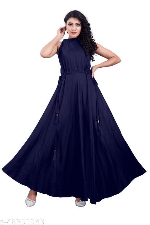 Women Latest Gown Beautiful Full (blue)