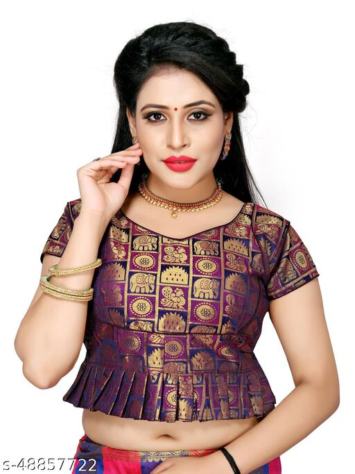 Shubh Sanidhya Women's Jacquard Purple Silk Blouse With V-Neck  (BL-20007-Purple)_Free_Size