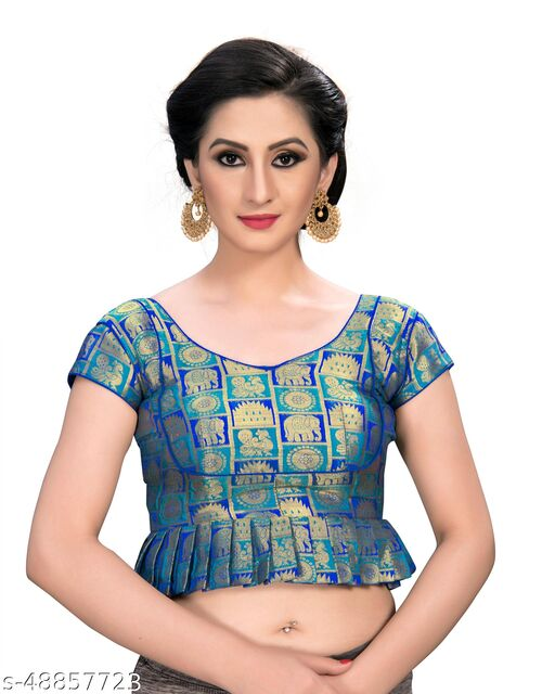 Shubh Sanidhya Women's Jacquard Light_Blue Silk Blouse With V-Neck  (BL-20007-Light_Blue)_Free_Size