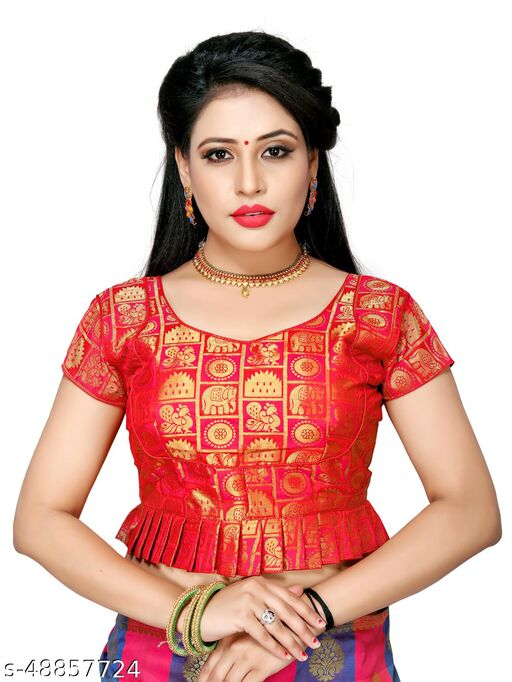 Shubh Sanidhya Women's Jacquard Red Silk Blouse With V-Neck  (BL-20007-Red)_Free_Size