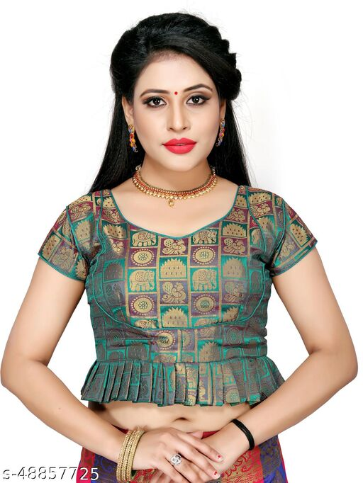 Shubh Sanidhya Women's Jacquard Green Silk Blouse With V-Neck  (BL-20007-Green)_Free_Size
