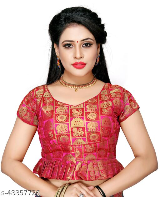 Shubh Sanidhya Women's Jacquard Pink Silk Blouse With V-Neck  (BL-20007-Pink)_Free_Size