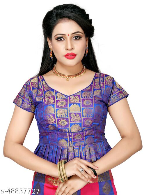 Shubh Sanidhya Women's Jacquard Multicolor Silk Blouse With V-Neck  (BL-20007-Blue)_Free_Size