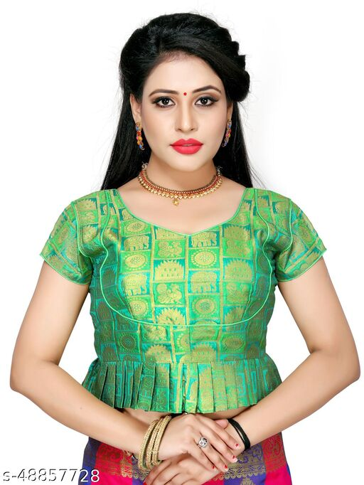 Shubh Sanidhya Women's Jacquard Light_Green Silk Blouse With V-Neck  (BL-20007-Light_Green)_Free_Size