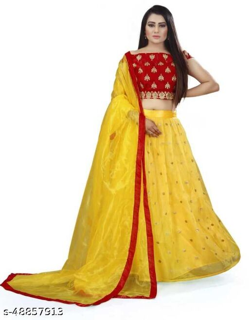 Women's new stylish and bollywood latest net lehengha choli for women with embroidery work with blouse piece