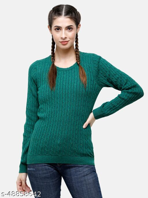 98 Degree North's Green Melange Self Design Round Sweaters