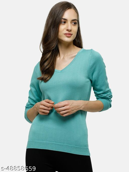 98 Degree North's Green Solid V Neck Sweaters