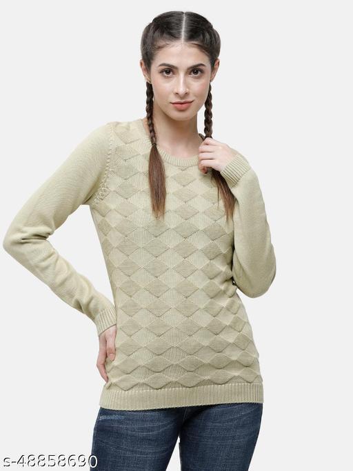 98 Degree North's Green Self Design Round Sweaters