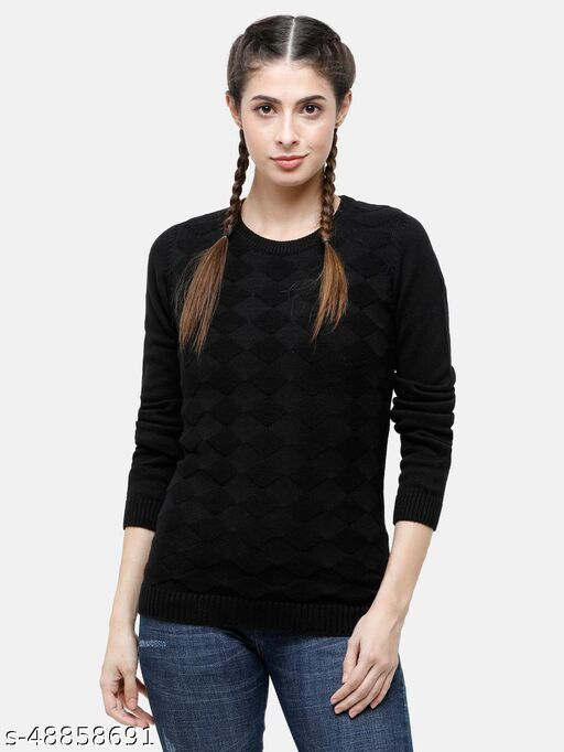 98 Degree North's Black Self Design Round Sweaters