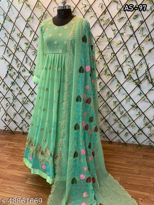 Designer Embroidred Georgette Gown With Heavy Embroidred Work