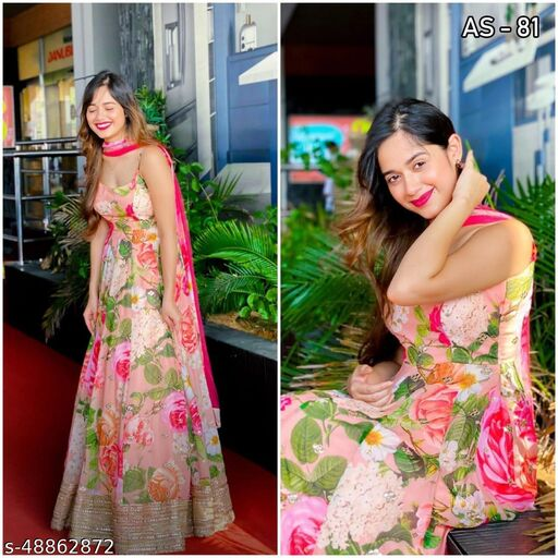 Designer Printed Embroidred Gown With Real Mirror
