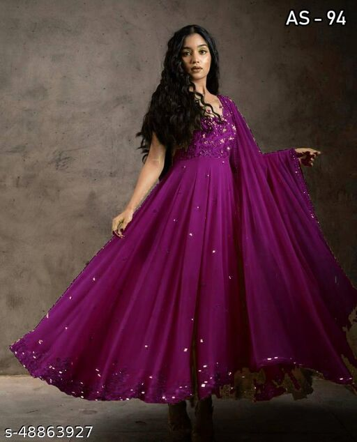 Designer sequence embroidred gown