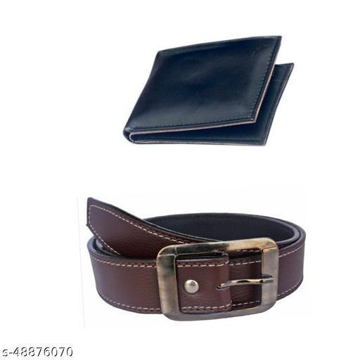 black single fold wallet & belt for men pack of 2