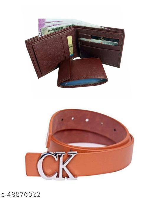 brown album wallet & belt for men pack of 2