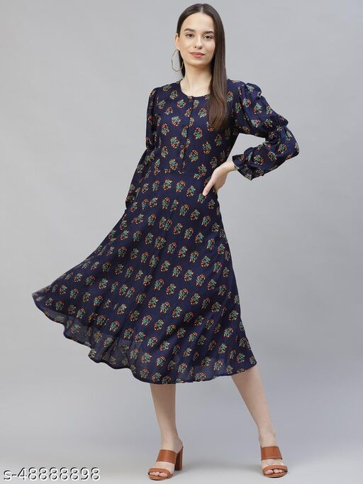 Navy Blue flared Rayon floral Print Dress with puff sleeves