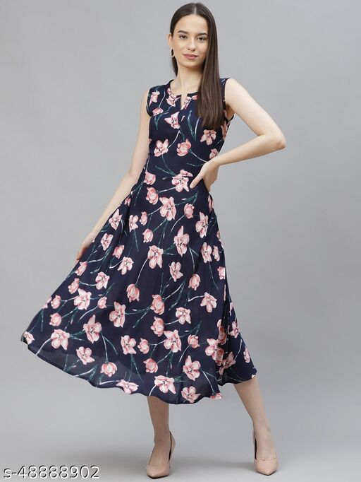 Navy Blue & Pink Floral Printed A-Line Dress