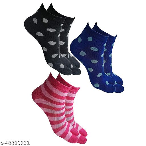Women's Warm Winter Ankle Length Towel Thick Woolen Thumb Multicolored Socks - Pack of 3 Pairs