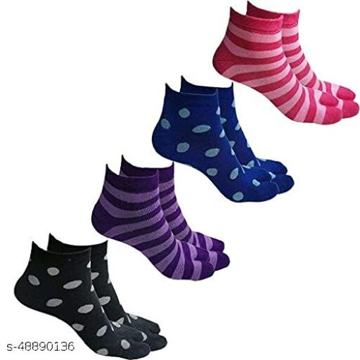 Women's Warm Winter Ankle Length Towel Thick Woolen Thumb Multicolored Socks - Pack of 4 Pairs