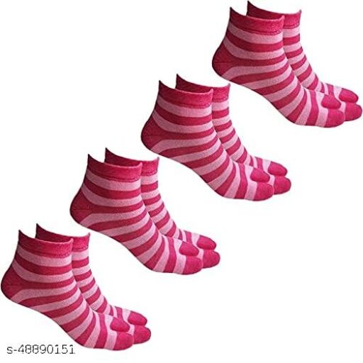 Warm Woolen Winter Ankle Length Thumb Socks for Women - (Pink Color, Pack of 4 Pairs)