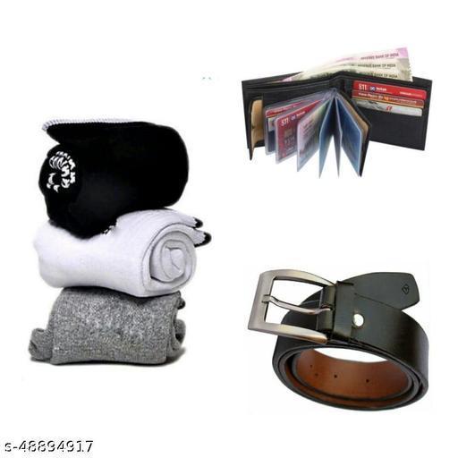 pack of 5 towel socks 3 pairs  belt & black album wallet for men