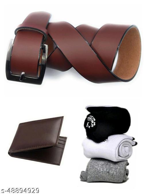 combo of 5 pack of 3 pairs socks belt & wallet for men