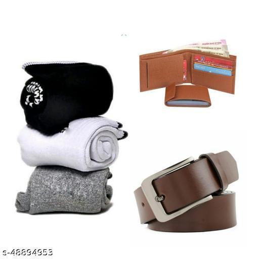 pack of 5  towel socks 3 pairs blue sports  wallet & belt for  men