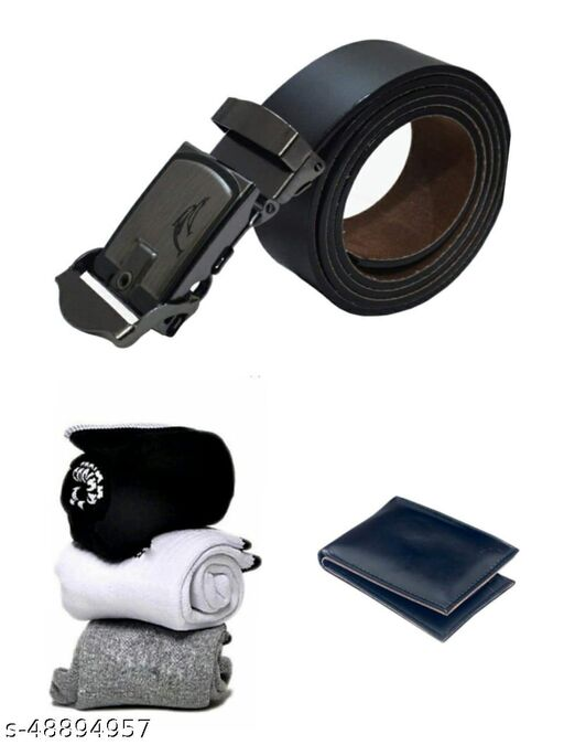 pack of 5  towel socks 3 pairs black  sports  wallet & belt for  men