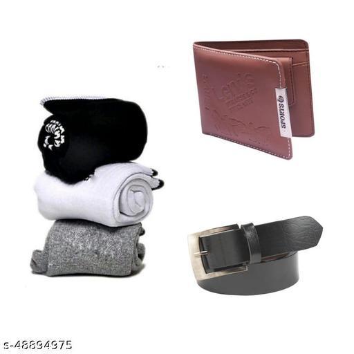 pack of 5 towel socks 3 pairs  belt & brown sports wallet for men