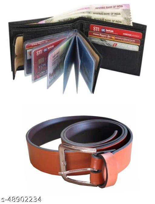 black album wallet & belt for men pack of 2