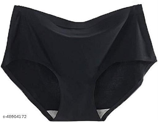 Women Seamless Black Cotton Blend Panty